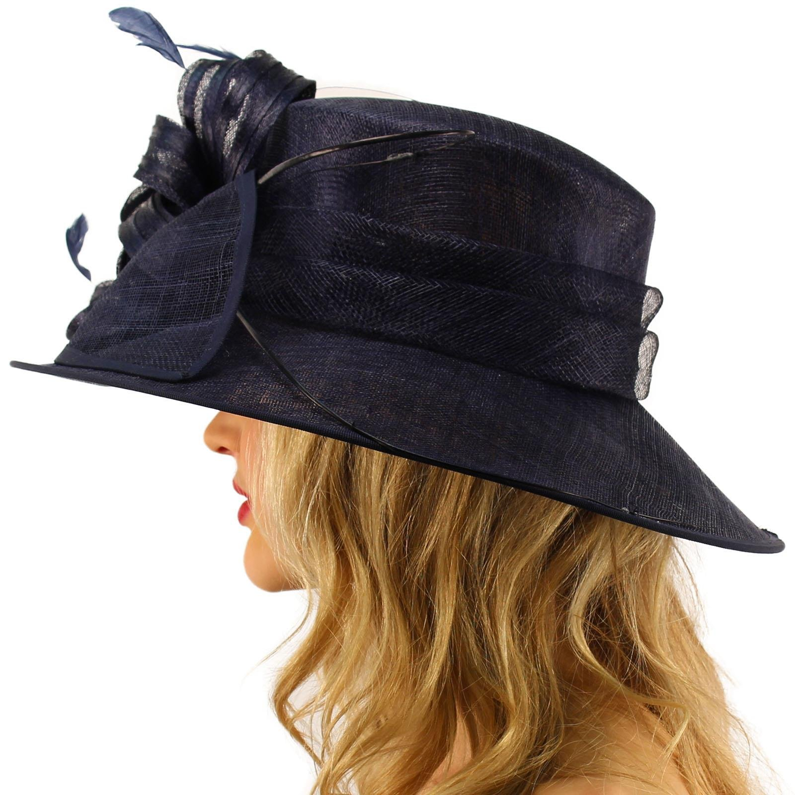 British Regal Sinamy Ribbon Feathers Quill Derby Floppy Bucket Dressy Hat Navy by SK Hat shop (Image #3)