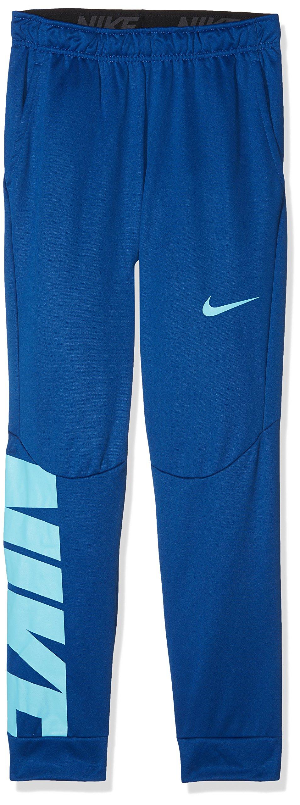 NIKE Big Kids' (Boys') Therma Printed Training Pants (Gym Blue (909082-431) / Water Blue, X-Large)