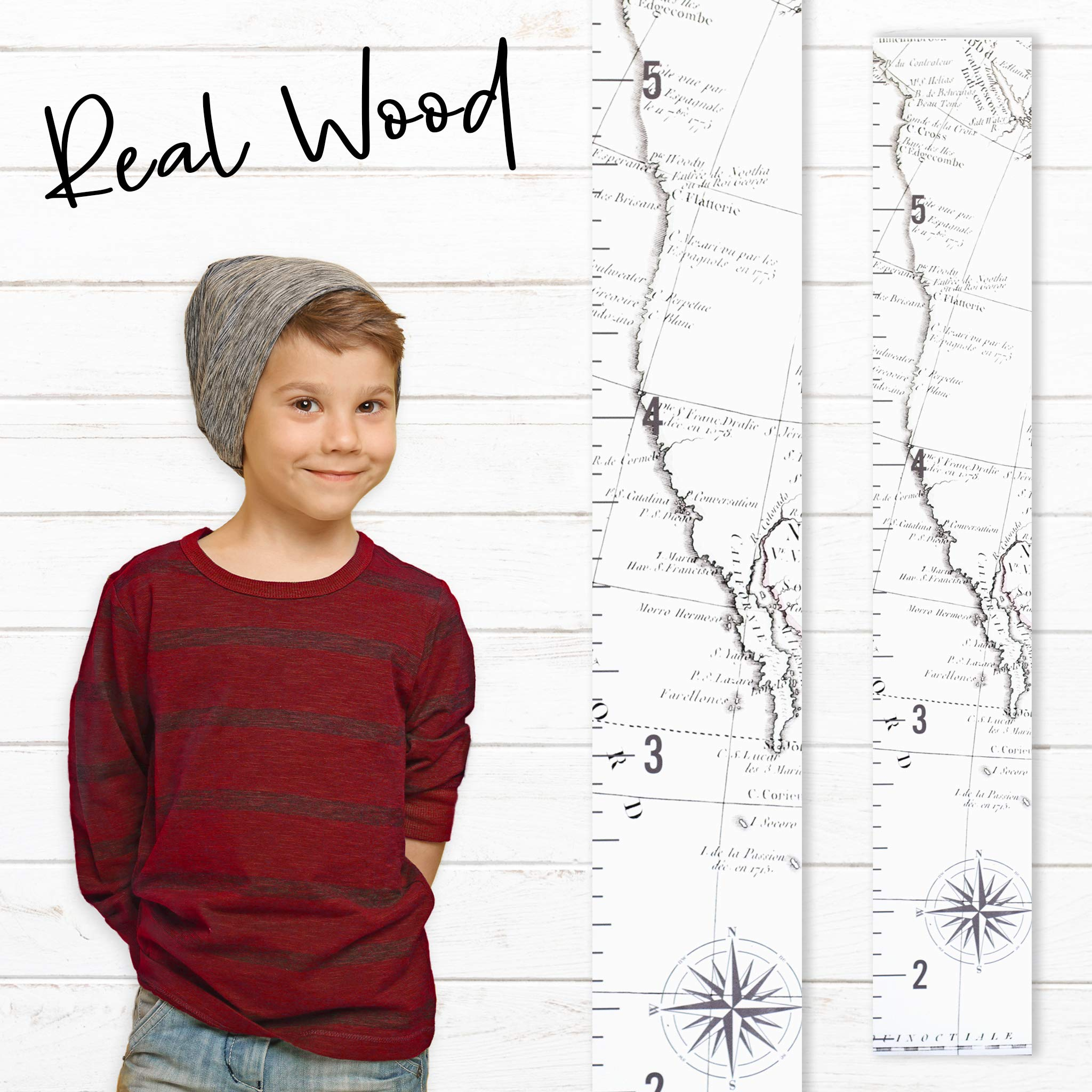 Growth Chart Art | Wooden Map Growth Chart for Kids [Boys & Girls] - Children's Room Décor Height Chart | West Coast Map White by Growth Chart Art