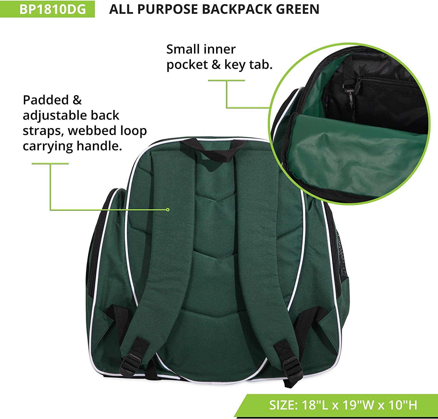 Champion Sports Deluxe All Purpose Backpack 18 x 19 x 10