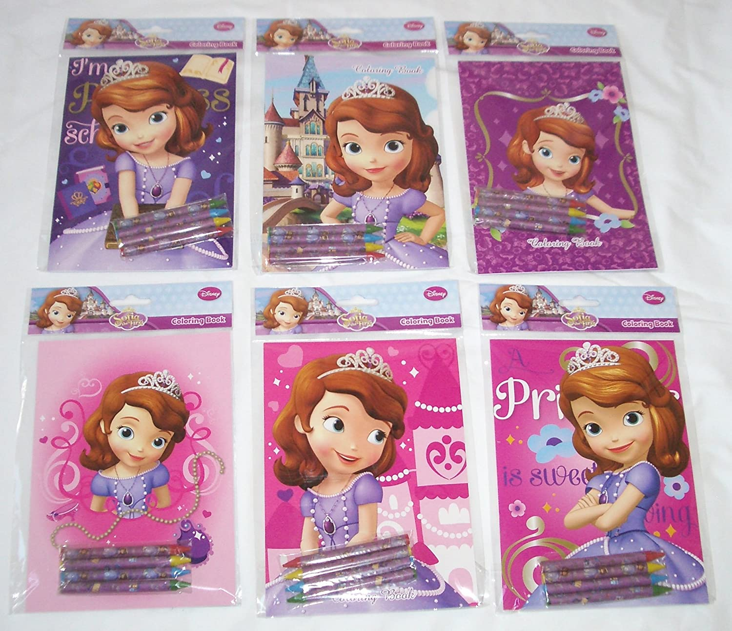 12 Sets of Disney Sofia The First Coloring Books and Crayon Set Children Party Favors Bag Filler