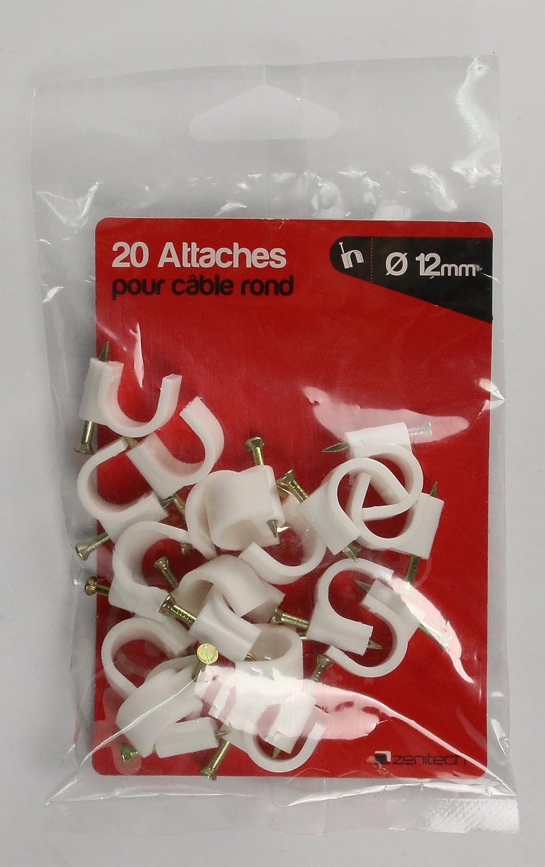 lot de 20 Attaches plastiques /Ø6 Blanc