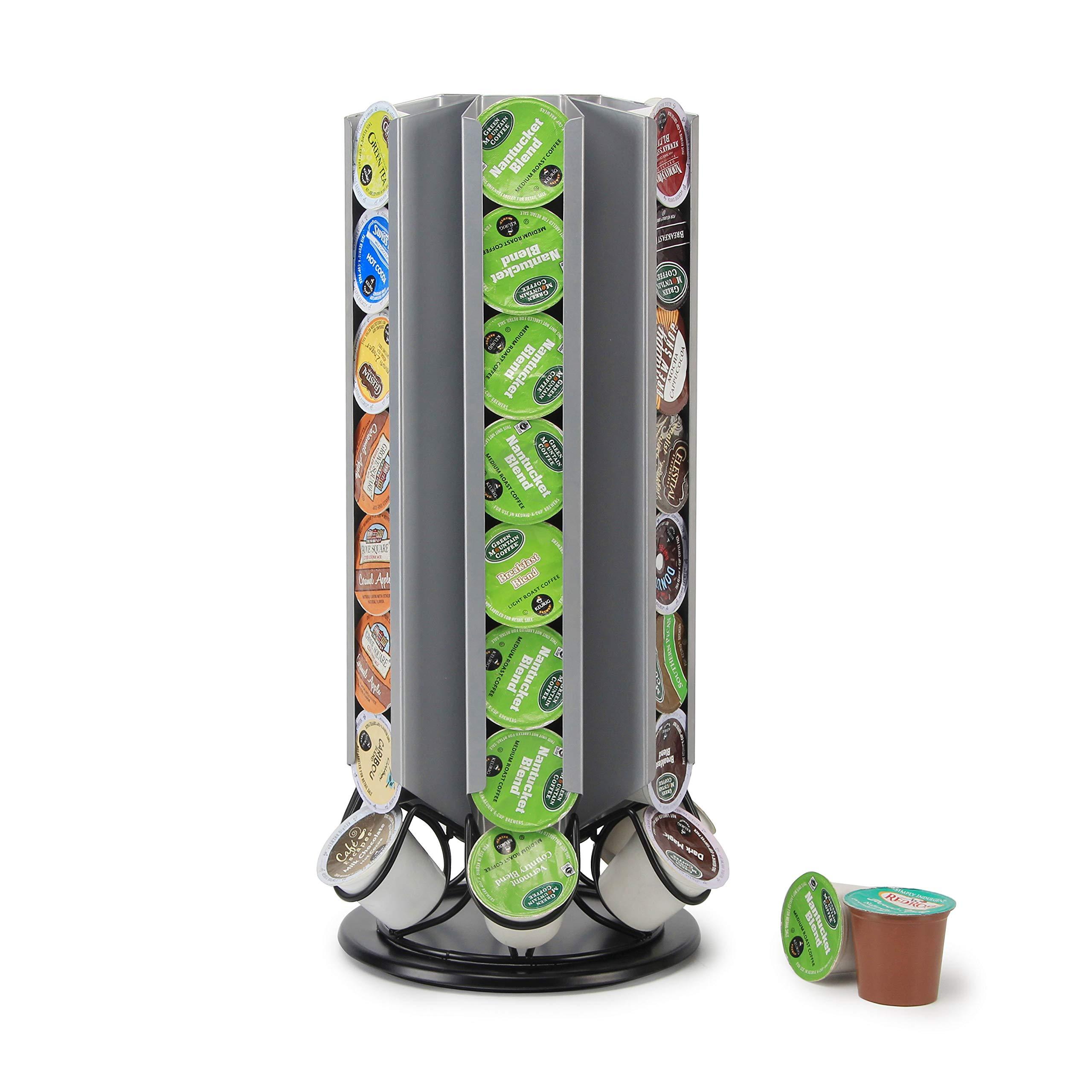 Coffee Pod Holder Revolving Capsules Rack for K-cup Pods (Silver+Black, 48 Pods)