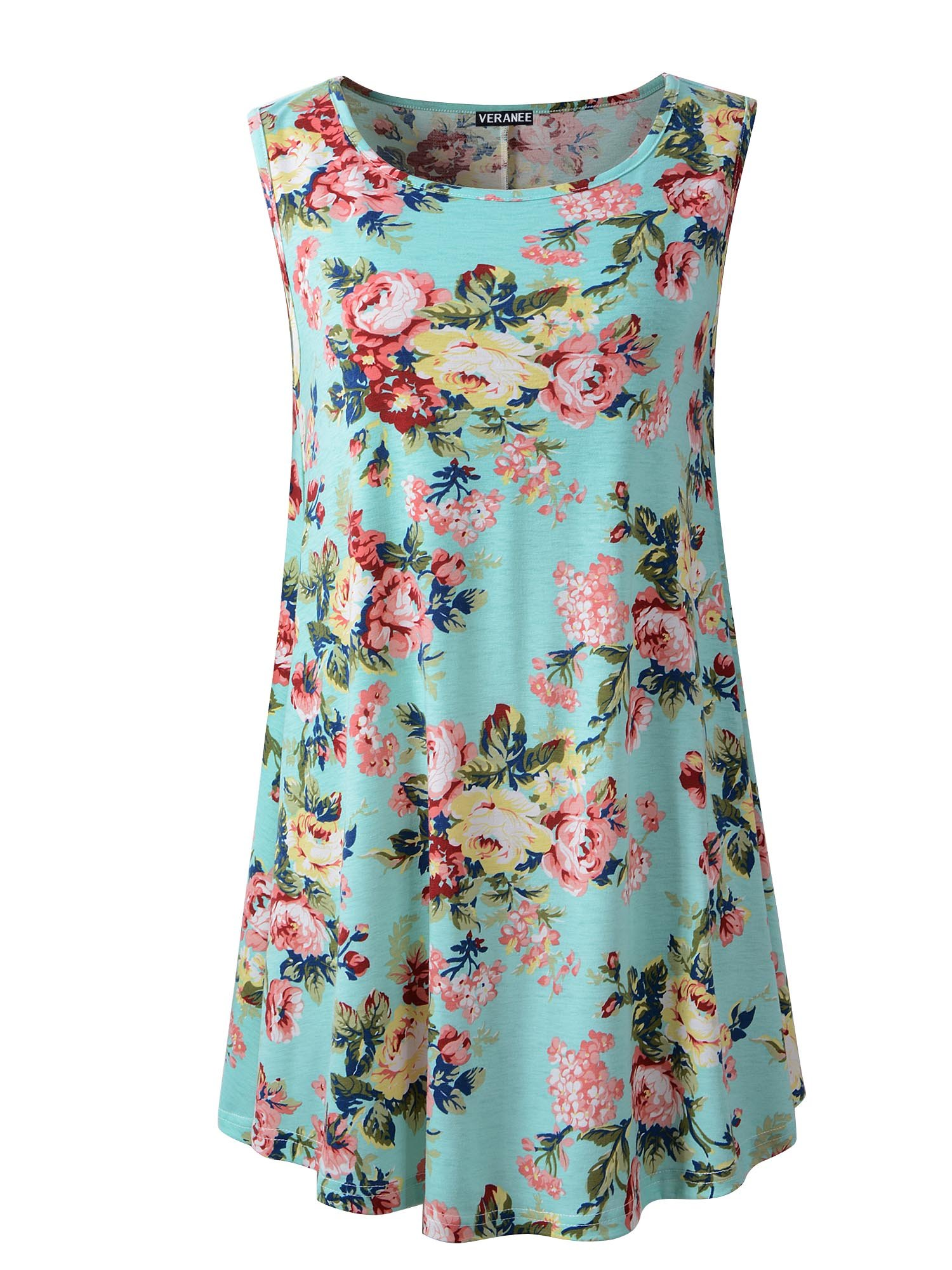 Veranee Women's Sleeveless Swing Tunic Summer Floral Flare Tank Top Large 6-2