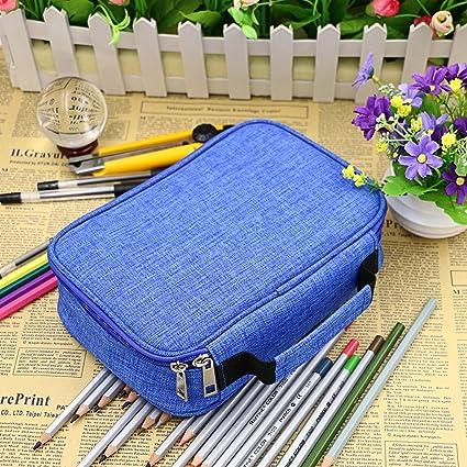BTSKY Estuche Escolar de Lápices de Escribanía con 72 Ranuras Caja de Lápices Almacenamiento de Tela Oxford con Velcro Extraíble Compartimientos con Asa Adecuado para Escuela Dibujo Estudiantes (Azul): Amazon.es: Oficina y