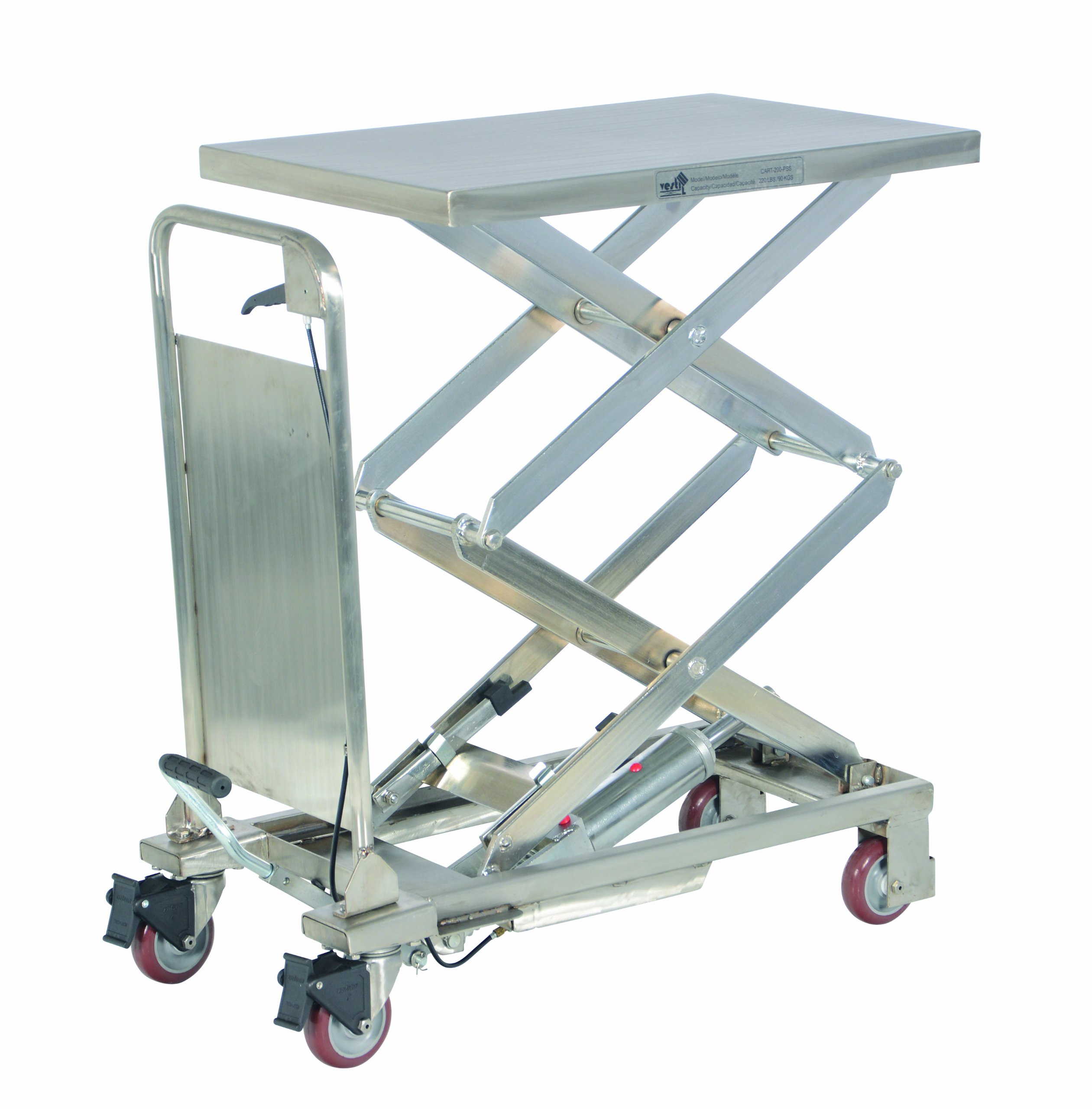 Vestil CART-200-D-PSS Partially Stainless Steel Hydraulic Elevating Cart, 220 lb. Capacity, 27-1/2'' x 17-1/2'' Platform