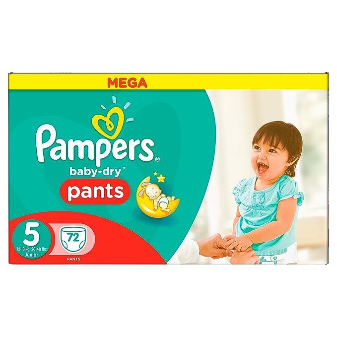 Pampers Baby-Dry Pants Pañales para Bebés, Talla 5 (12-18 kg) - 72 pañales: Amazon.es: Salud y cuidado personal