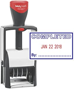 """Heavy Duty Date Stamp with""""Completed"""" Self Inking Stamp - 2 Color Blue/Red Ink"""