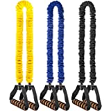 VANWALK 3 Pack Resistance Bands 15 – 45Lbs with Soft Handles and Carrying Bag, 15 – 25lb Yellow Resistance Bands, 25-35lb Resistance Bands Blue, 35 – 45lb Resistance Bands Black