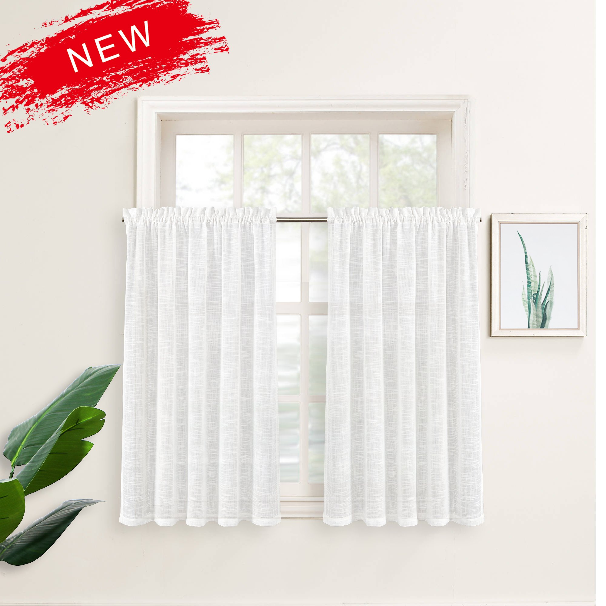 Zceconce Off White Bedroom Window Curtain Set Linen Semi Sheer Curtains Privacy Textured for Bedroom 45 Inch Long for Hotel Dining Room Total Size 120 Inch Wide (60''×45'', White, 2 Pieces)