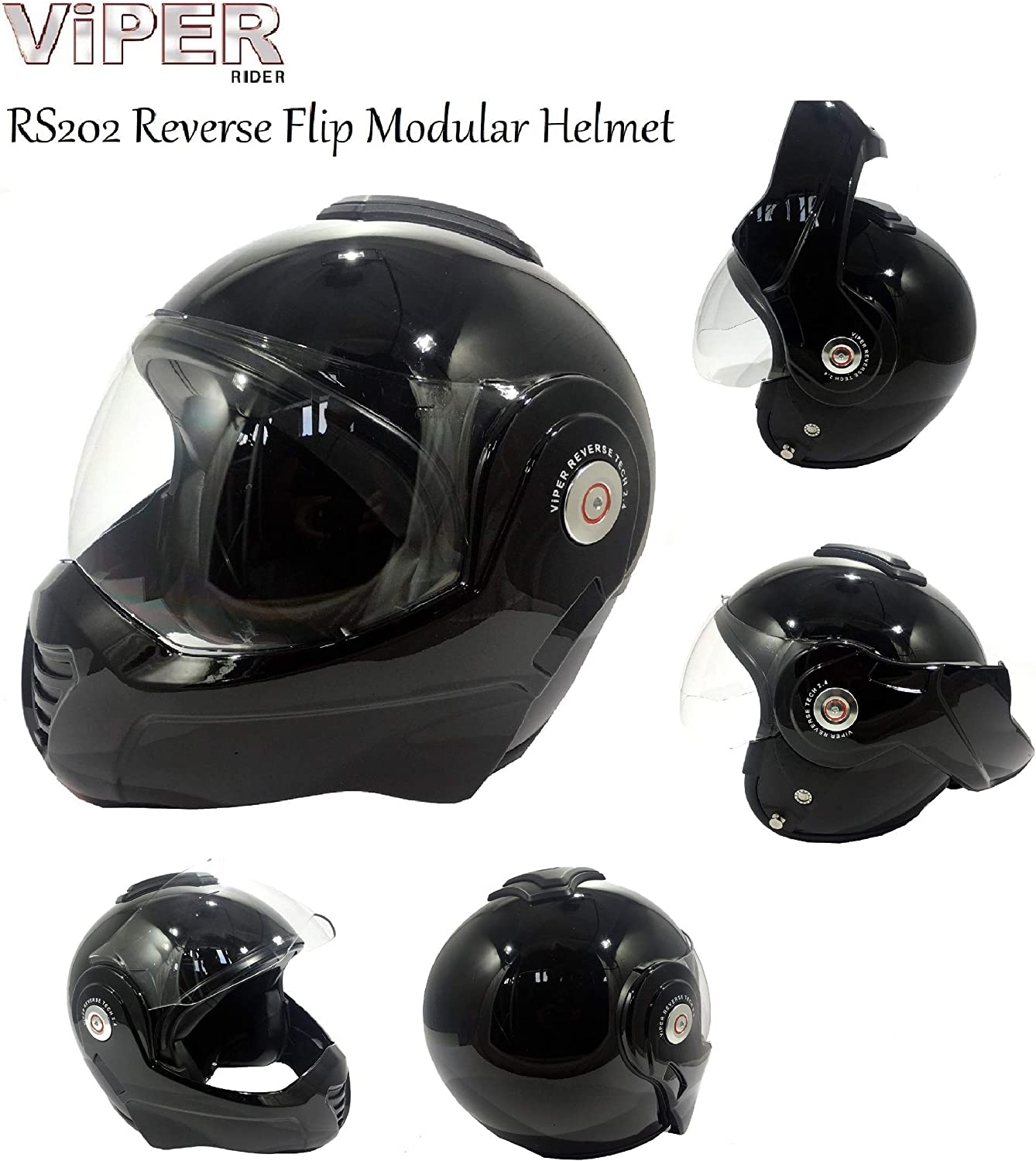 GLOSS BLACK MOTORBIKE ADULT VIPER RS202 REVERSE FLIP FRONT CRASH HELMET New Motorcycle Moped Scooter Touring Sports Racing ECE Approve Open Full Face Modular Helmet