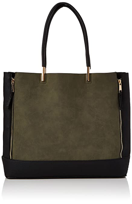 latest design preview of later New Look Womens Tanya Zip Wing Canvas and Beach Tote Bag Green (Dark  Khaki),One size