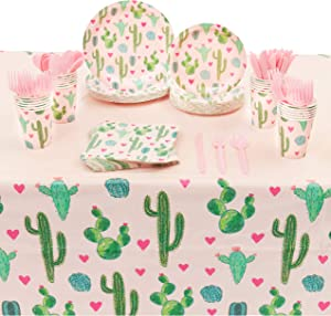 Succulent Cactus Party Pack, Includes Pink Paper Plates, Napkins, Cups, Cutlery and Plastic Tablecloth (Serves 24, 168 Pieces)