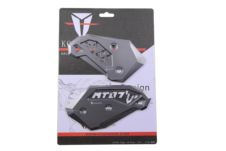 PRO-KODASKIN Motorcycle Foot Peg Heel Plates Guard Protector for Yamaha MT-07 FZ-07 2014-2016 Black