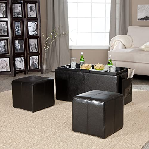 Storage Coffee Table Ottoman Serving Tray Nesting Table Top plus Side Ottomans with storage and Side Pocket plus FREE GIFTS