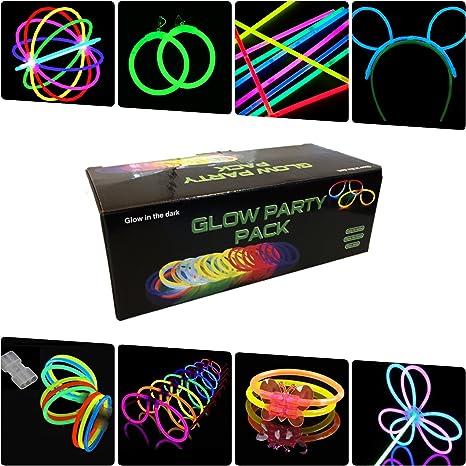 Pack fiesta Glow pulseras, collares, gafas, pulseras triples, orejas conejo, pendientes, flores, bola luminosa - 224 elementos: Amazon.es: Deportes y aire libre