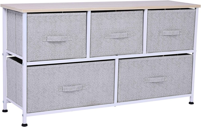 "HOMCOM 5"" L 5 Drawer Horizontal Storage Cube Dresser Unit Bedroom"