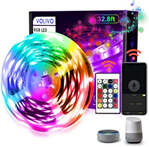 VOLIVO WiFi Smart Led Strip Lights, 32.8ft RGB Led Light Strips Works with Alexa and Google Assistant, Music Sync Color Changing Led Lights for Bedroom, Kitchen, Party, TV