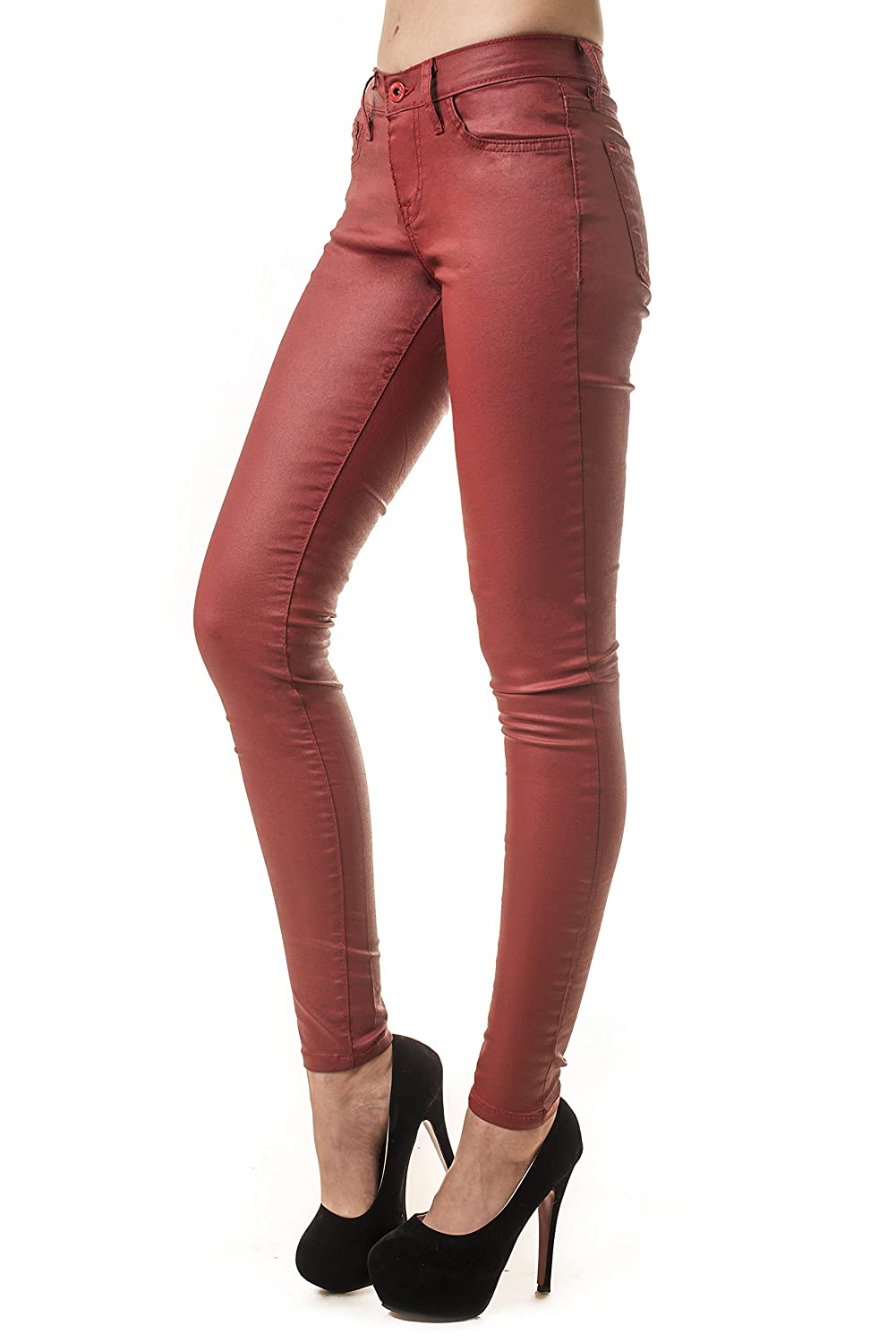 ICONOFLASH Women's Faux Leather Wax Coating Skinny Jeans