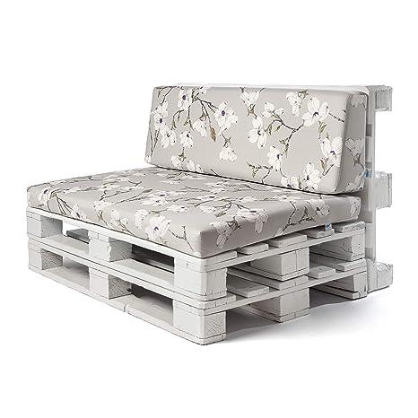 SUENOSZZZ - Conjunto colchoneta para Sofas de Palet y Respaldo (1 x Unidad) Cojin Relleno con Espuma. Loneta HP Izumi Floral | Cojines para Chill out, ...
