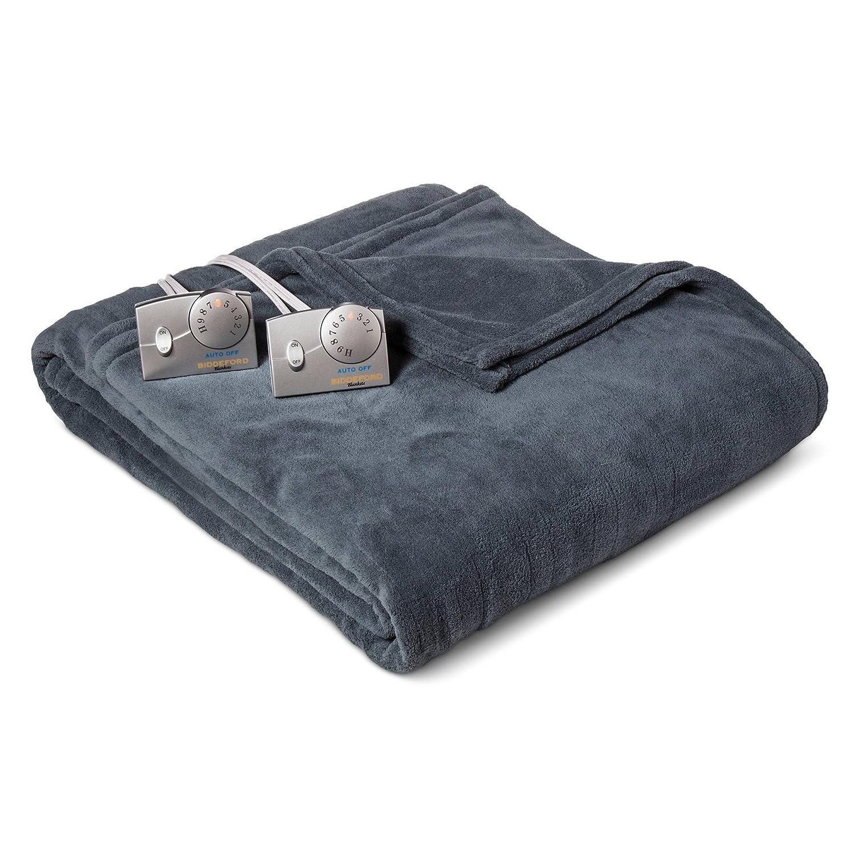 電気毛布クイーンサイズby Biddeford Heated毛布クイーン、Micro Plush Soft熱電気毛布、10時間自動シャットオフ、10暖房毛布設定、デュアル熱ゾーン、5年保証 – ブルー B06XCJMWBD