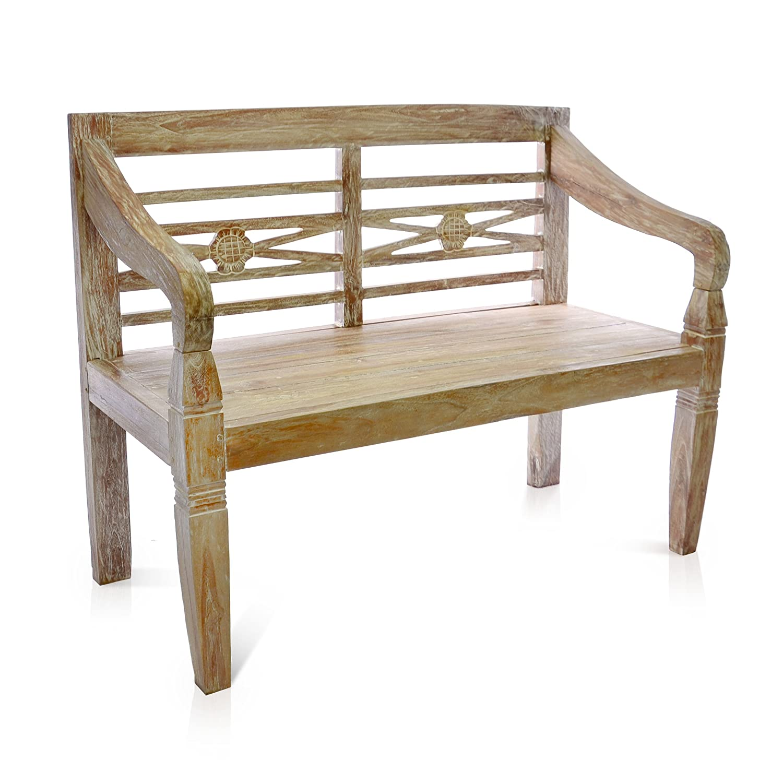 Amazon.de: DIVERO 2-Sitzer stabile antike Gartenbank 115 cm massiv ...