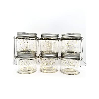 Ayven Hanging Solar Garden Lanterns. Clear Jars, Warm White Lights/6 Pack. 20 LED Fairy String Lights per Jar. 6 Jars, Lids, and Hangers. Perfect for Outdoor Lawn Décor, Patio, Garden, Yard.