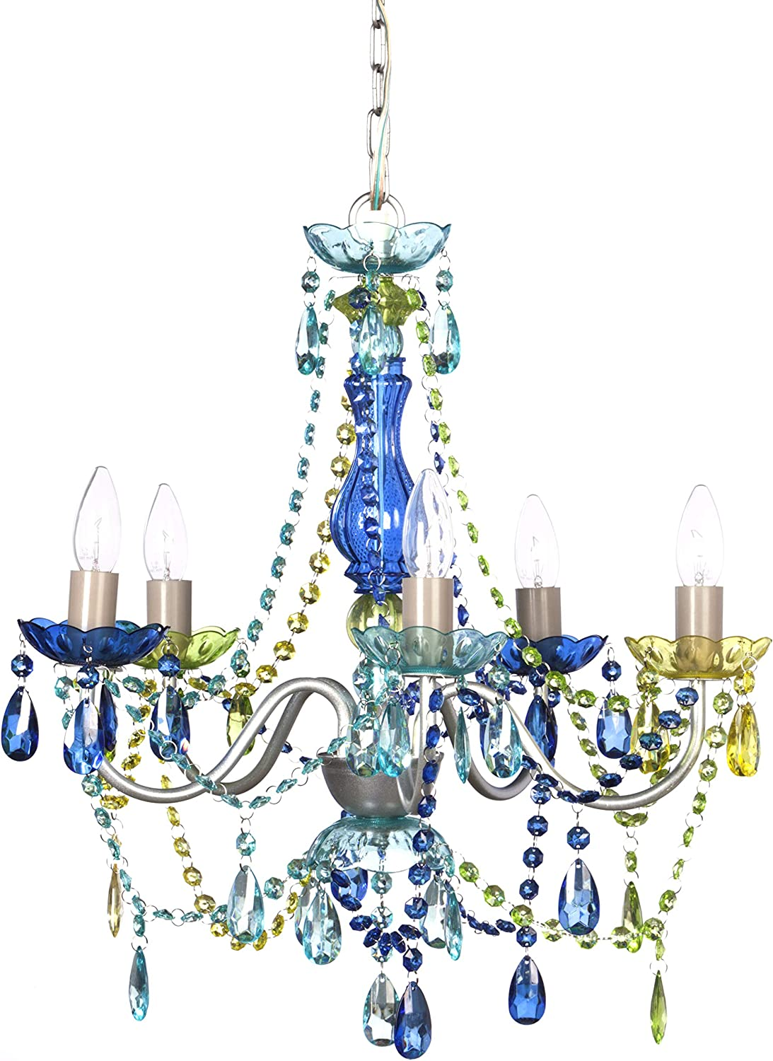 "5 Light Blue Green Hardwire Flush Mount Chandelier H21""xW19"", Silver Metal Frame with Blue Glass Stem and Multicolor Acrylic Crystals & Beads That Sparkle Just Like Glass"