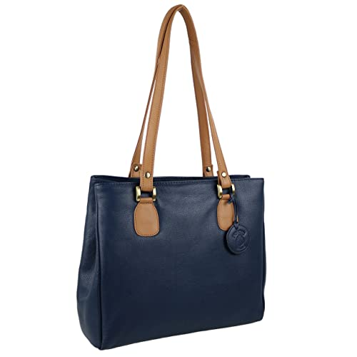 256ab917dd Soft Ladies Two-Tone Leather Hand BAG by Nordic Blue  Hansson Handbag Navy   Amazon.co.uk  Shoes   Bags