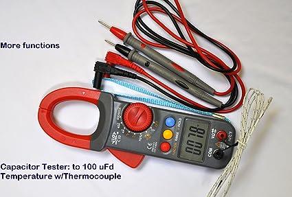 Digital Clamp Meter Ammeter Multimeter DMM+Capacitor Tester+Type K