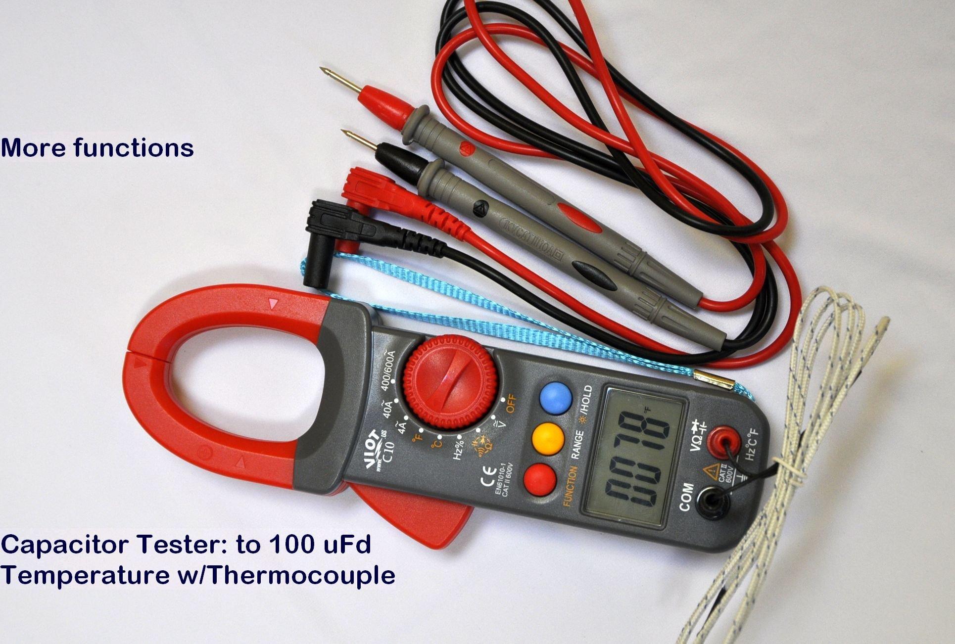 Digital Clamp Meter Ammeter Multimeter DMM+Capacitor Tester+Type K Thermocouple HVAC Electric Circuit Diagnosis Repair Service Tool