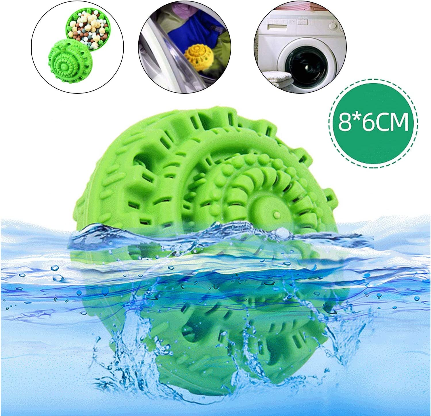 AWZSDF Magic Laundry Ball,Reusable Eco-Friendly Chemical Free Washer Machine Laundry Balls Natural Alternative,Laundry Detergent for up to 1000 Washings,6PCS