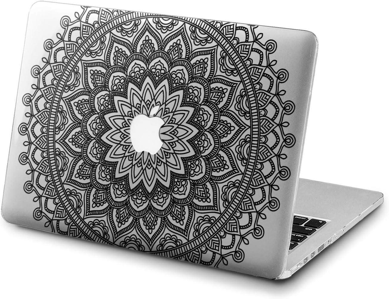 Lex Altern Clear Case for Apple MacBook Air 13 Mac Pro 15 inch Retina 12 11 2020 2019 2018 2017 2016 Beautiful Design Plastic Touch Bar Laptop Girls Boho Cover Pattern Mandala Black Lace Indian