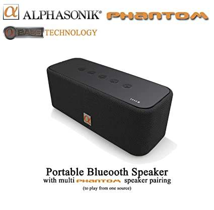 f8ddc05d2db2f Alphasonik Phantom Wireless Bluetooth V4.2 Portable Party Speaker with Loud  30W HD Stereo Sound and Rich Bass, Built-in Mic, Micro USB, Auxiliary, ...