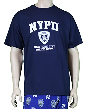 NYPD Short Sleeve White Print T-Shirt Navy Small