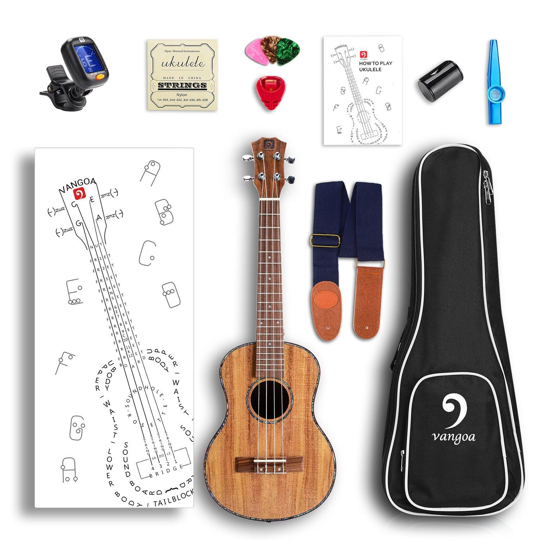 Vangoa Soprano Ukulele KOA UK-21K 21 inch Acoustic Ukulele Beginner Bundle with Picks, Nylon Strap, Pick Container, Tuner, Kazoo, Extra Strings, Finger Shaker and Gig Bag