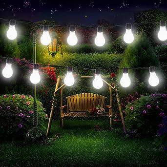 Solar Bombilla Luces, eonant 3,5 m 10 LED Solar guirnalda de luces LED impermeable de plástico con 2 modos de iluminación para al aire libre, jardín, Navidad decoraciones (blanco frío): Amazon.es: Iluminación