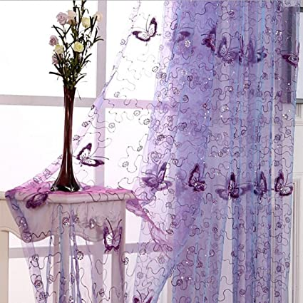 Amazon.com: Pureaqu Butterfly Embroidered Sheer Curtain for Living ...