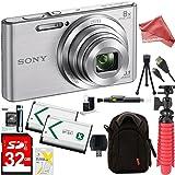 Sony DSC-W830 Cyber-shot 20.1MP 2.7-Inch LCD Digital Camera (Silver) + SDHC Memory Dual Battery Kit + DigitalAndMore Accessory Bundle (32GB)