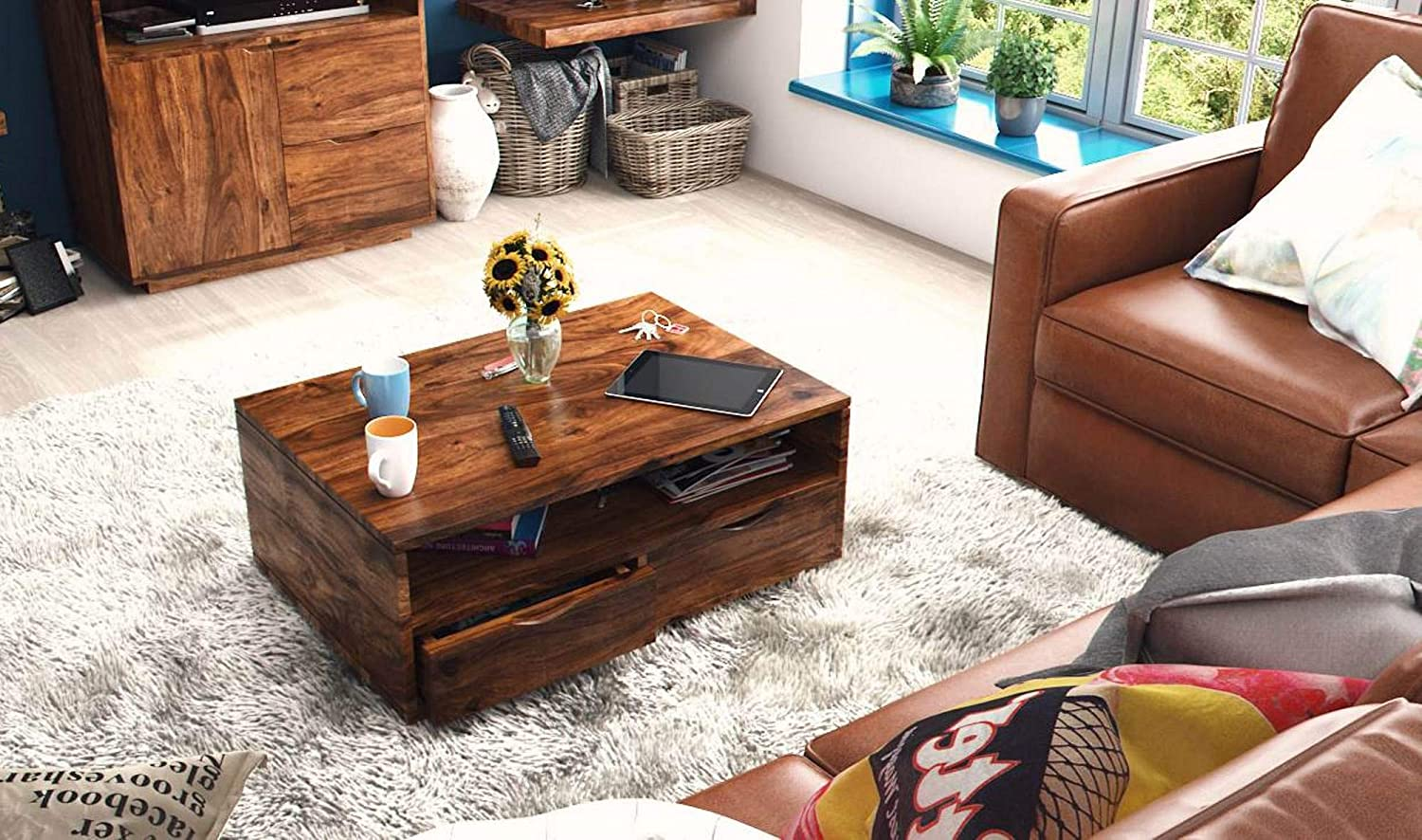 WOODSTAGE Wooden Furniture Coffe Table | Teapoy | Center Table with Drawer  Storage Shelf | Office Table for Living Room Hall (Sheesham_Mahogany):  Amazon.in: Home & Kitchen