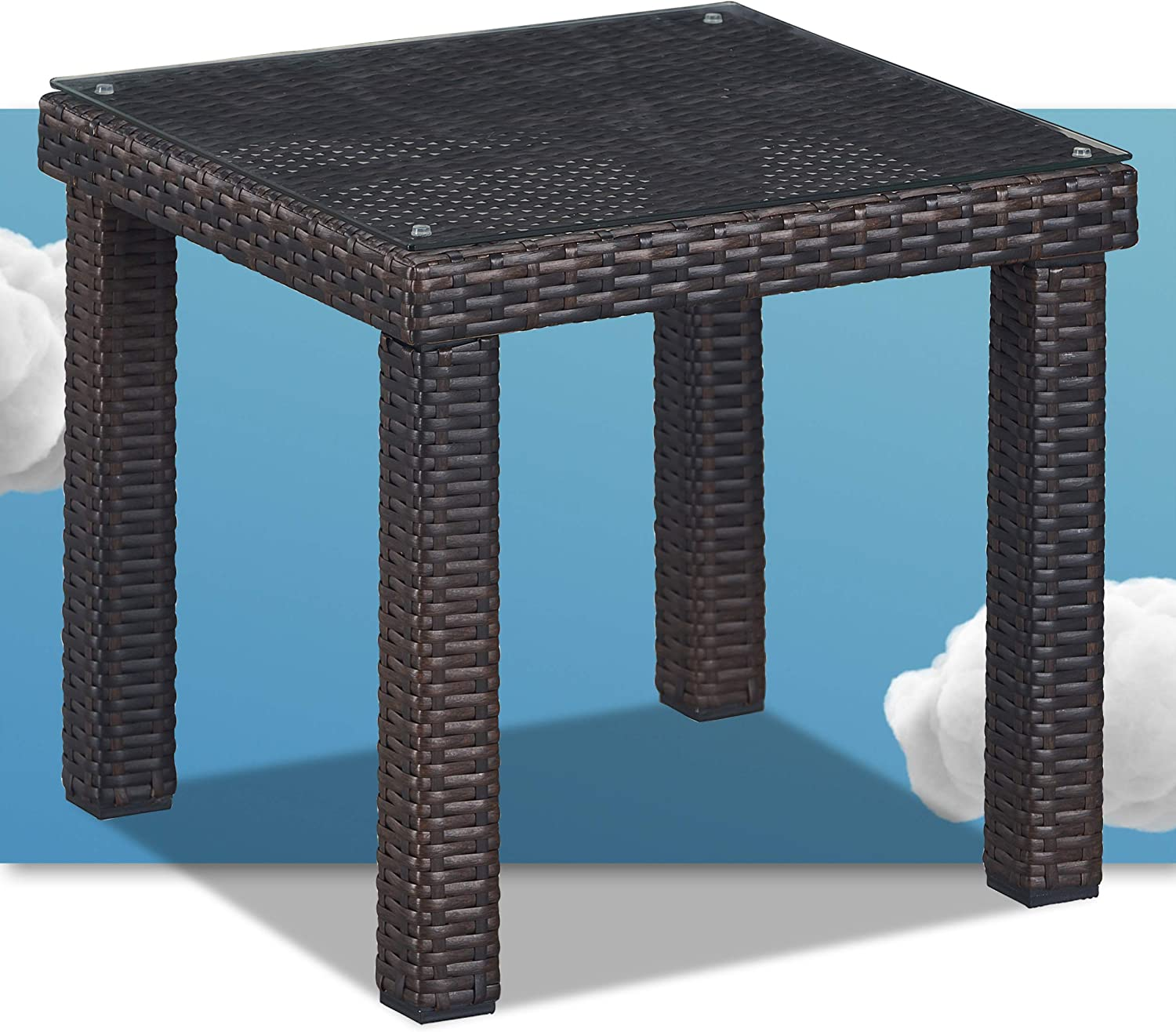 Serta Tahoe Brown Resin Wicker Outdoor Patio Furniture Collection Porch or Pool, Garden, All-Weather with Thick Seat Cushion, Side Table