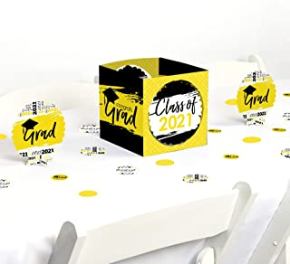 product image for Big Dot of Happiness Yellow Grad - Best is Yet to Come - Yellow 2021 Graduation Party Centerpiece & Table Decoration Kit