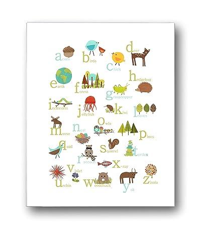 Nature Themed English Alphabet Wall Art Print 18x24, Nursery Decor, Kidu0027s Wall  Art Print