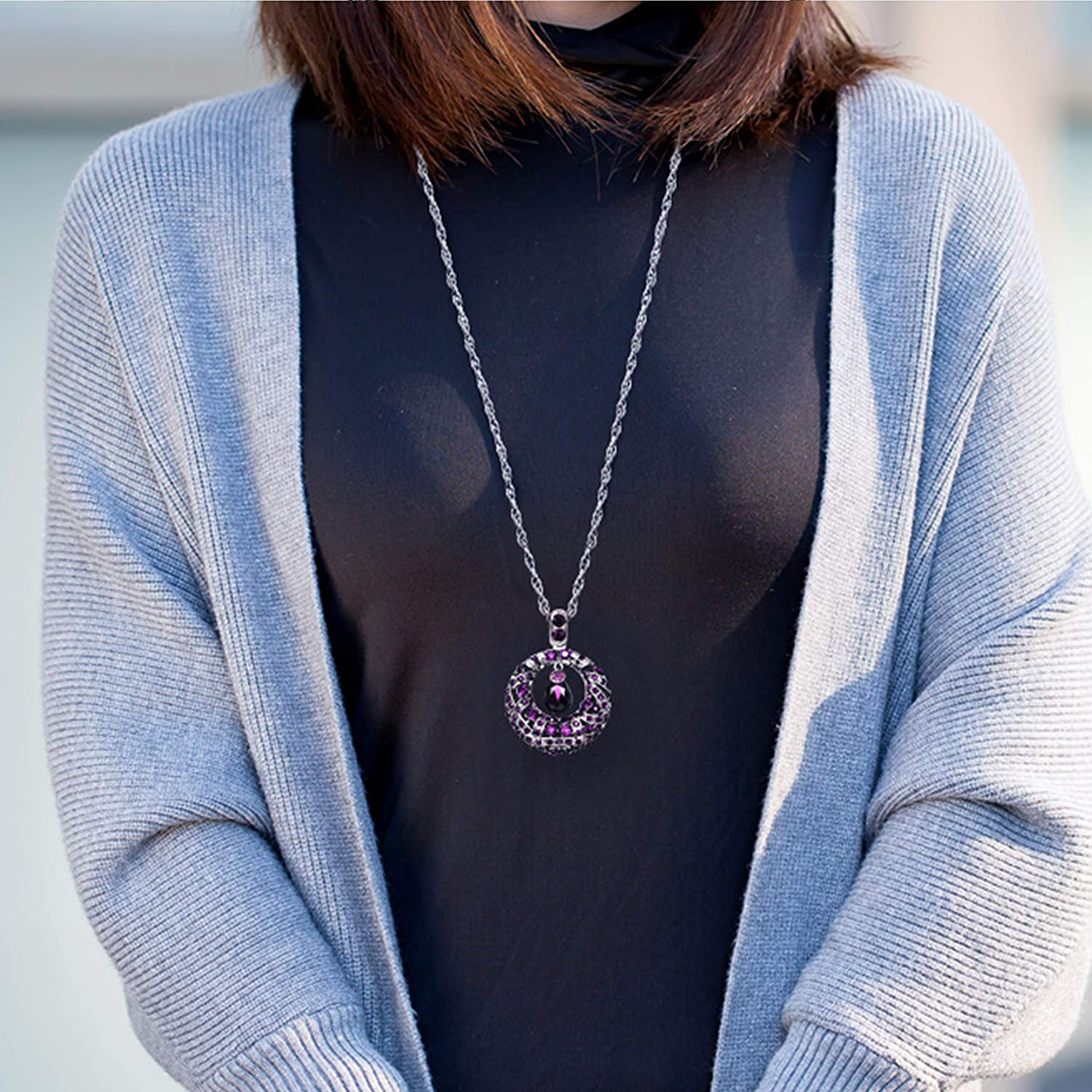 Great for Wife,Sisters,Friends,Daily Wear or Dating ZUOZUOYA Long Pendant Sweater Necklace Chain Vintage Water Drop Dark Blue,Purple Crystal Rhinestones Sweater Jewelry with Silver Tone
