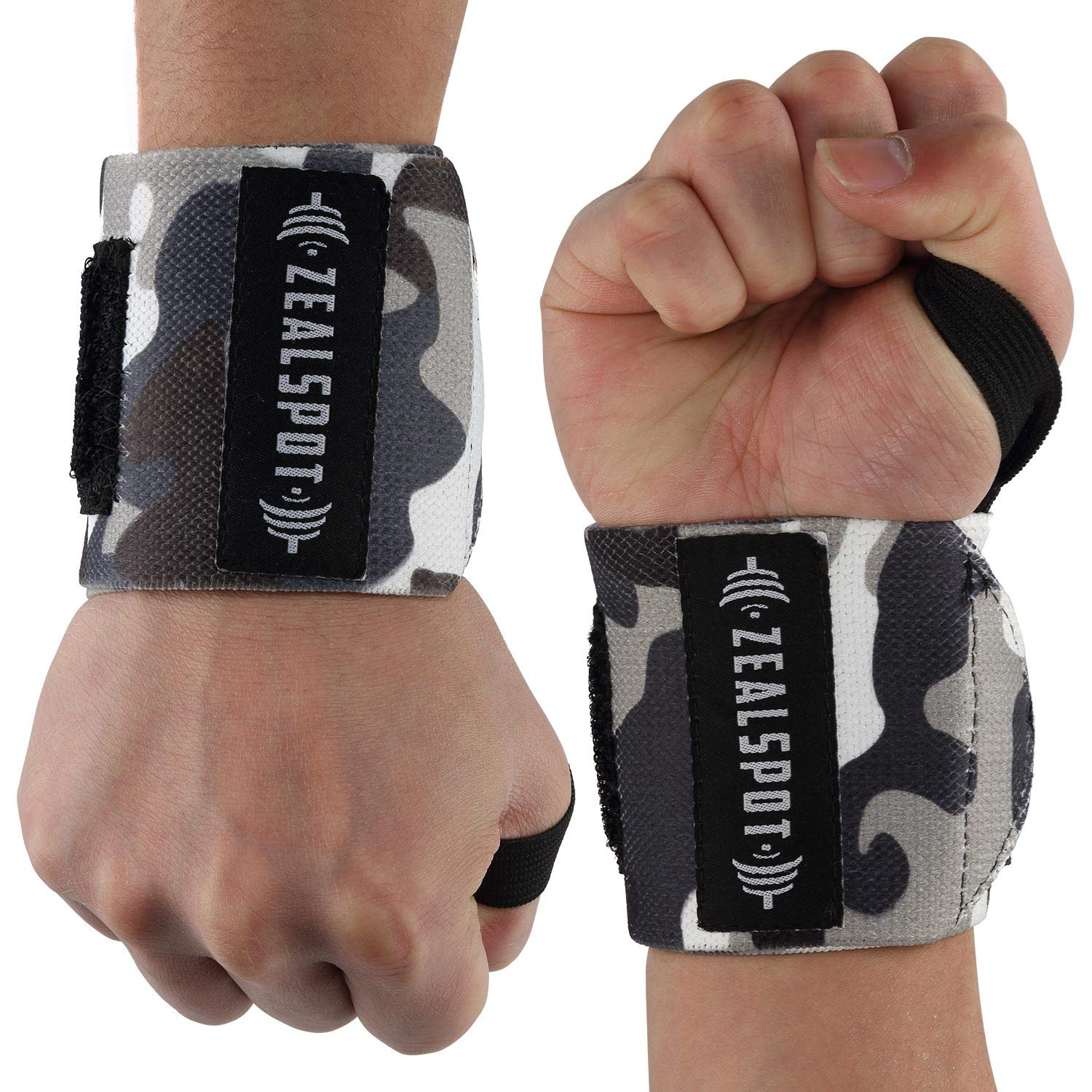Deadlifts Bodybuilding Powerlifting Strength Training Xfit and MMA-for Women /& Men Camo Z ZEALSPOT Wrist Wraps /& Lifting Straps for Weightlifting