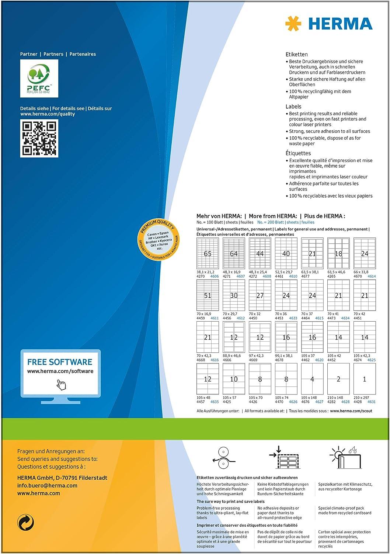 Herma 4417 /Étiquettes 105 x 48 Premium A4 6000 pi/èces Blanc