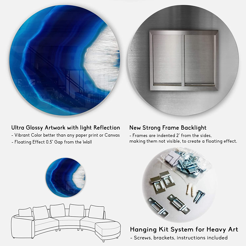 11 H x 11 W x 1 D 1P White Designart Blue Agate Crystal Abstract Digital Metal Wall Art Disc of 11 inch