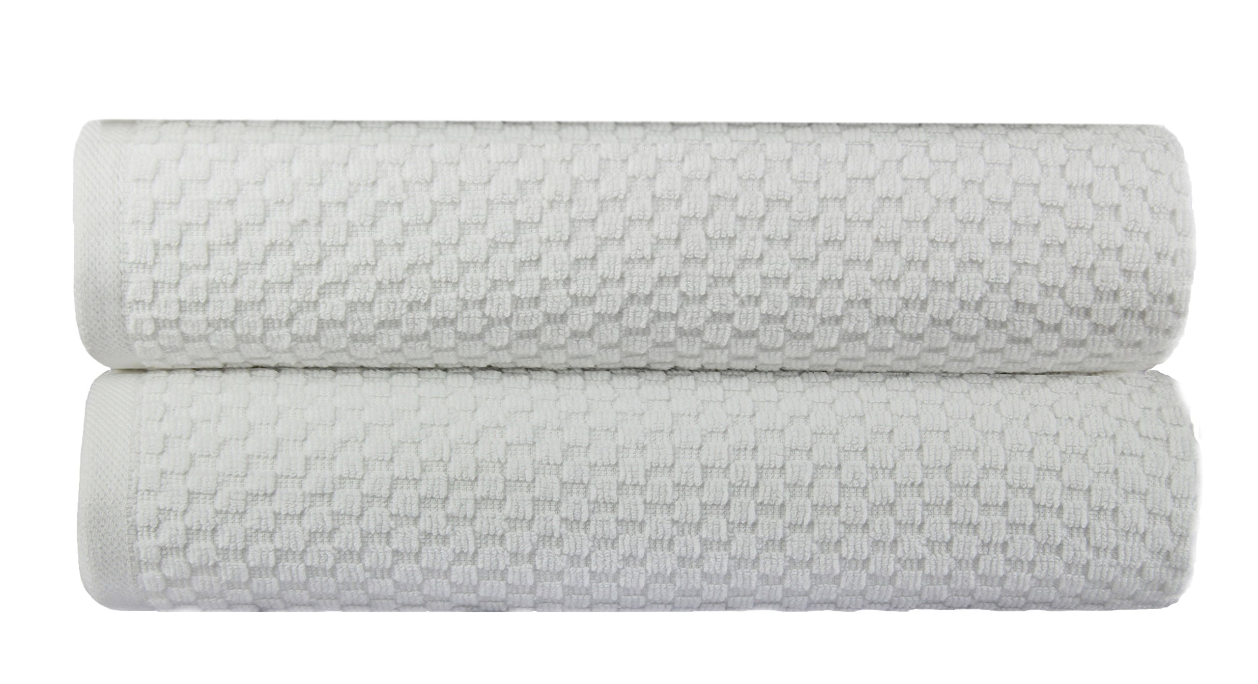 Cotton Craft 2 Pack Euro Spa Waffle Weave Oversized Bath Sheet 35x70 - White - 100% Pure Ringspun Combed Cotton - True Luxury Inspired by the Finest European Spas and Resorts