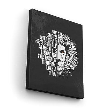 Amazon com: God's Not Dead He's Alive Roaring Like a Lion Canvas