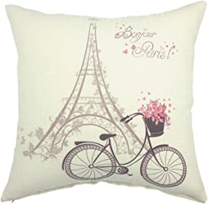 YOUR SMILE-Paris Rustic Cycle Cotton Linen Square Cushion Covers Throw Pillow Covers Decorative 18 x 18 (Bicycle 2)
